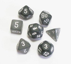 Set de 7 Dados Chessex Frosted Smoke/White - tienda online