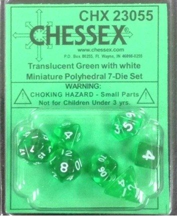 Set de 7 Dados Chessex Miniatura - Translucent Green with White - EL OGRO ALEGRE