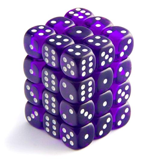 Bloque de 36 D6 Chessex Translucent Purple/white 12mm - comprar online