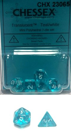 Set de 7 Dados Chessex Miniatura - Translucent Teal with White - comprar online