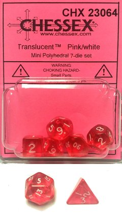 Set de 7 Dados Chessex Miniatura - Translucent Pink with White en internet