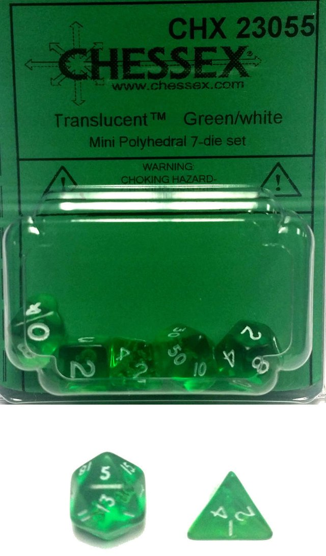 Set de 7 Dados Chessex Miniatura - Translucent Green with White en internet