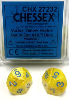 Set de 10 D10 Chessex Yellow/Blue en internet