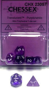 Set de 7 Dados Chessex Miniatura - Translucent Purple with White en internet