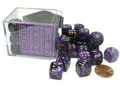 Bloque de 36 D6 Chessex Vortex Purple/gold 12mm