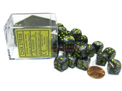 Bloque de 36 D6 Chessex Vortex Black/yellow 12mm