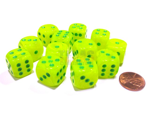 Bloque de 12 D6 Chessex Vortex Electric Yellow/green 16mm
