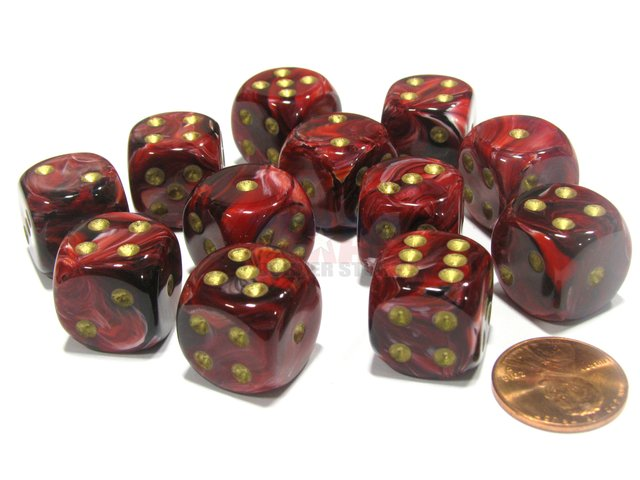 Bloque de 12 D6 Chessex Vortex Burgundy/gold 16mm