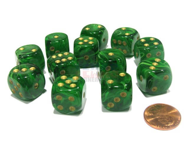 Bloque de 12 D6 Chessex Vortex Green/gold 16mm