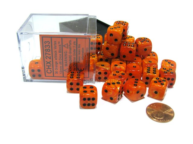 Bloque de 36 D6 Chessex Vortex Orange/black 12mm