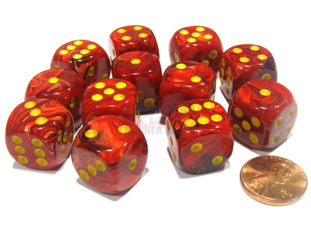 Bloque de 12 D6 Chessex Vortex Red/yellow 16mm