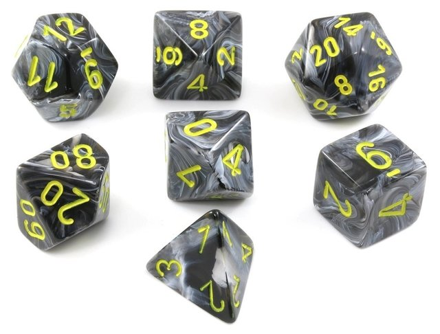 Set de 7 Dados Chessex Vortex Black/yellow