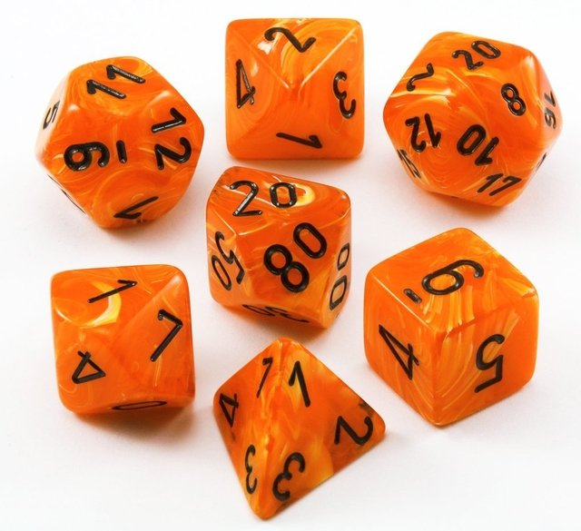 Set de 7 Dados Chessex Vortex Orange/black