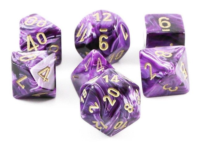 Set de 7 Dados Chessex Vortex Purple/gold