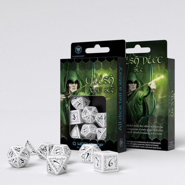 Set de 7 Dados Q-Workshop Elvish White & Black en internet