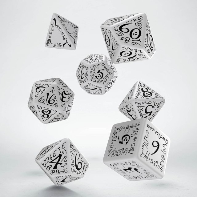 Set de 7 Dados Q-Workshop Elvish White & Black - comprar online