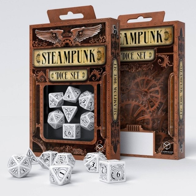 Set de 7 Dados Q-Workshop Steampunk White & Black - comprar online