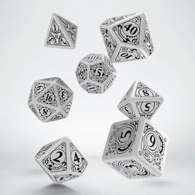 Set de 7 Dados Q-Workshop Steampunk White & Black