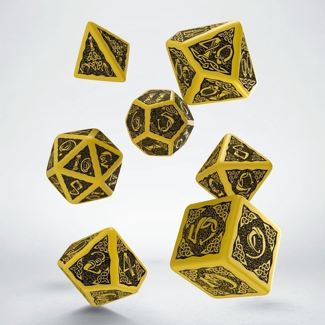Set de 7 dados Q-Workshop Celtic Yellow & Black