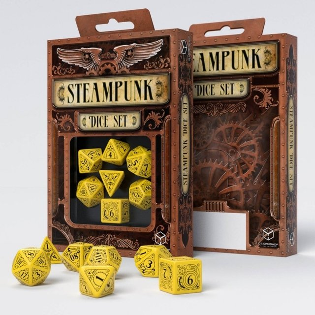 Set de 7 Dados Q-Workshop Steampunk Yellow & Black - comprar online