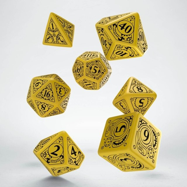 Set de 7 Dados Q-Workshop Steampunk Yellow & Black
