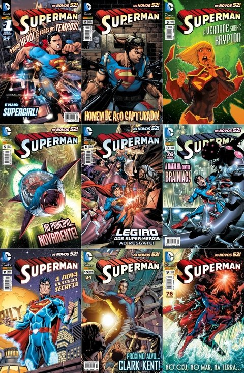 Pack Superman Novos 52 - vol 1 a 6 e 8 a 11