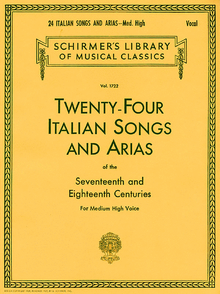 24 Italian Songs & Arias of the 17th & 18th Centuries - Medium High Voice - Libro