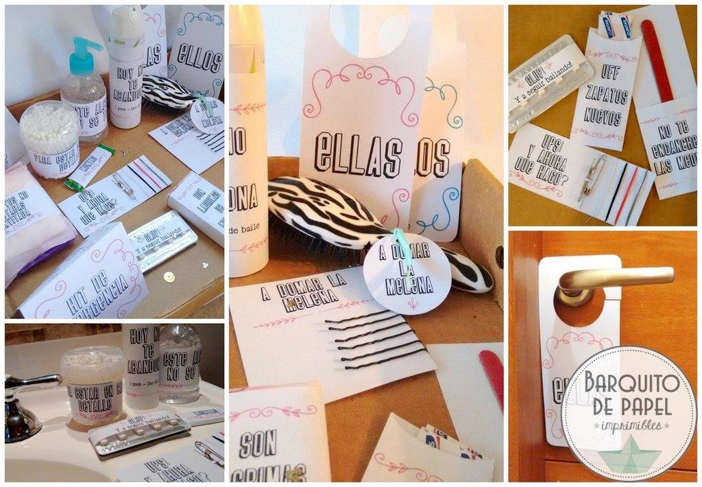 Kit imprimible bodas sos emergencias canasta ba o diy - Kit bano boda ...