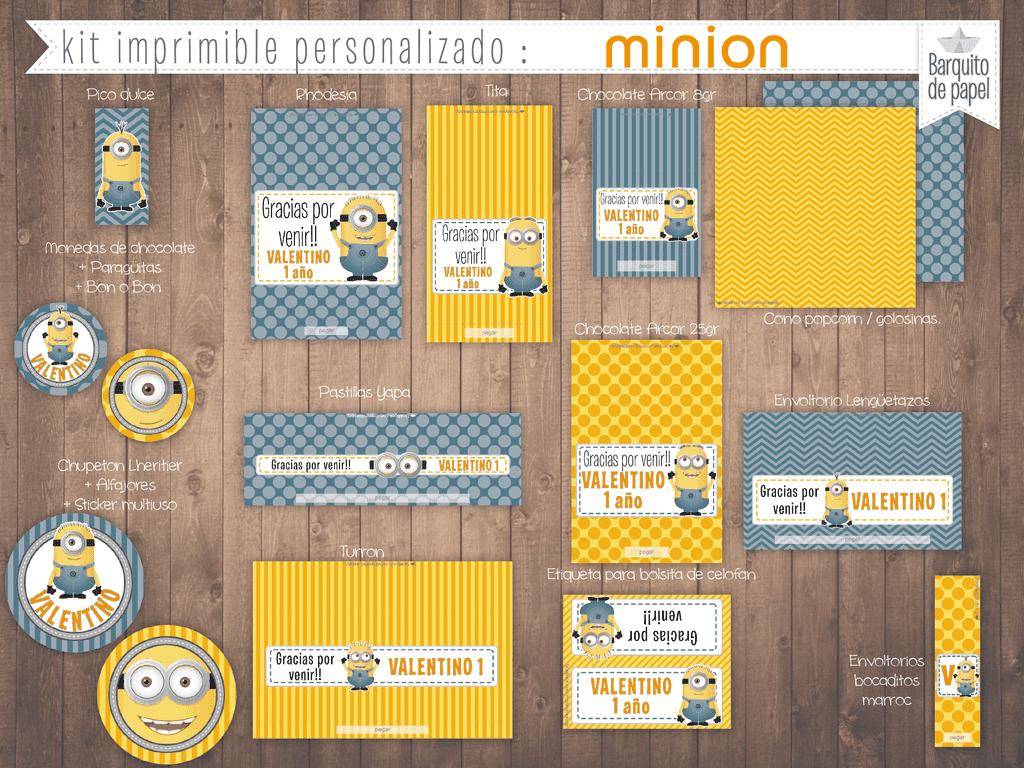 Kit Imprimible Personalizado Candy Bar Minion Completo