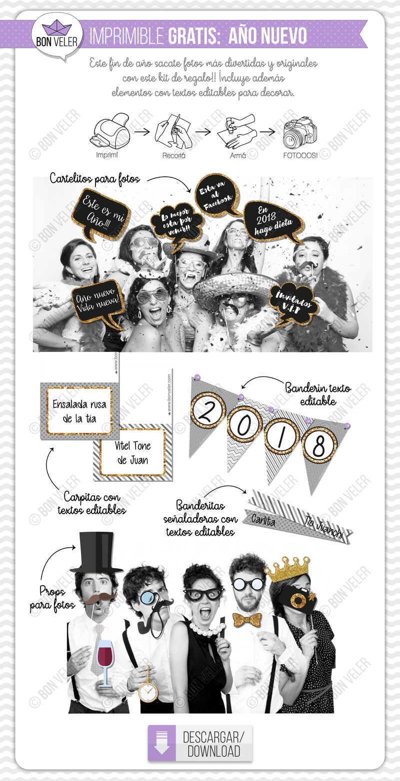 imprimible gratis props para fotos fin de año photo booth