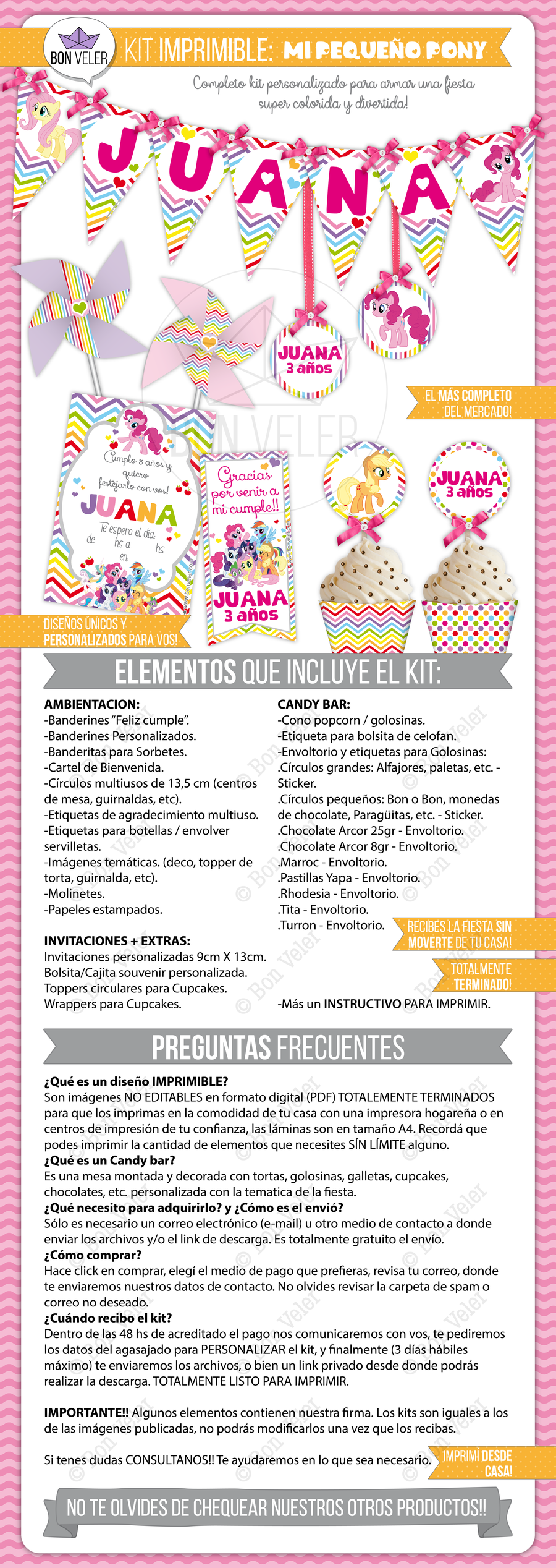 completo kit personalizado para armar un evento super colorido de little pony