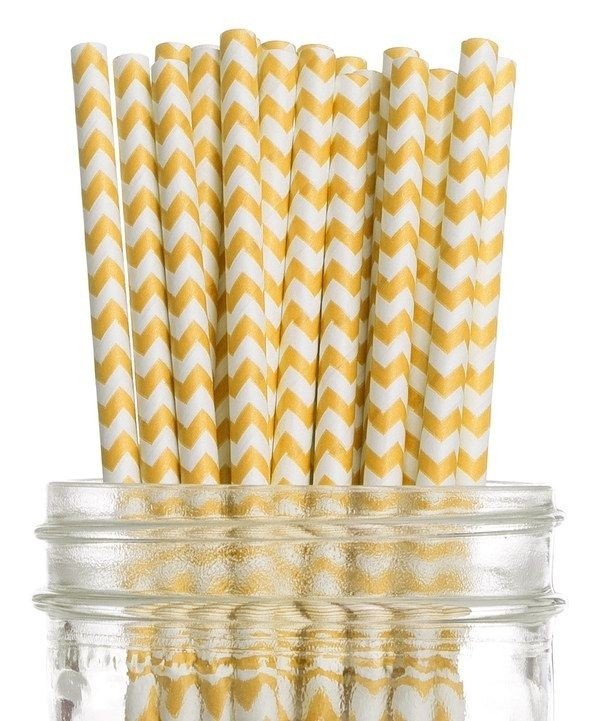 Canudo de papel Chevron amarelo c/ 25 unids BLACK FRIDAY!!!