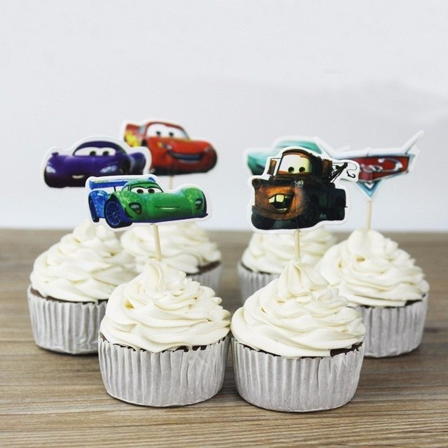 cupcake toppers carros 24 unids