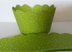 Saia wrap p/ cupcake poá verde