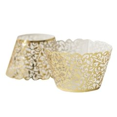 saia wrap para cupcake dourado C/ 12 UNIDS