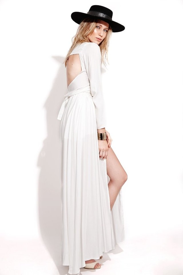 Vestido Longo Decote V Off White en internet