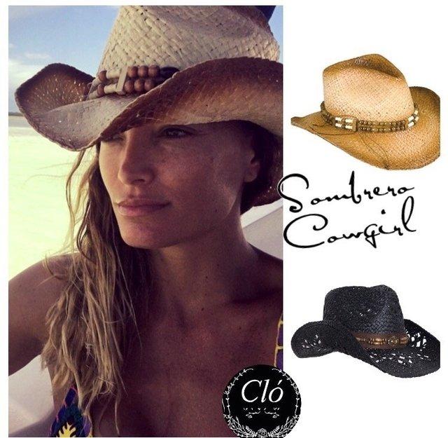 f14c383ca763c Hermoso sombrero playero tejido estilo cowboy cowgirl