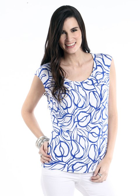 Remera Modal Estampado Monocolor con pliegues