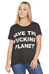 "Remera Algodón Estampada ""Save the fucking planet"""