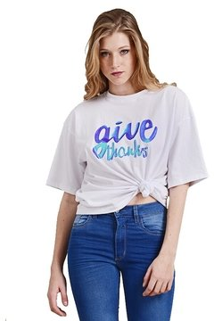 Remera Holgada con Aplique Give Thanks - comprar online