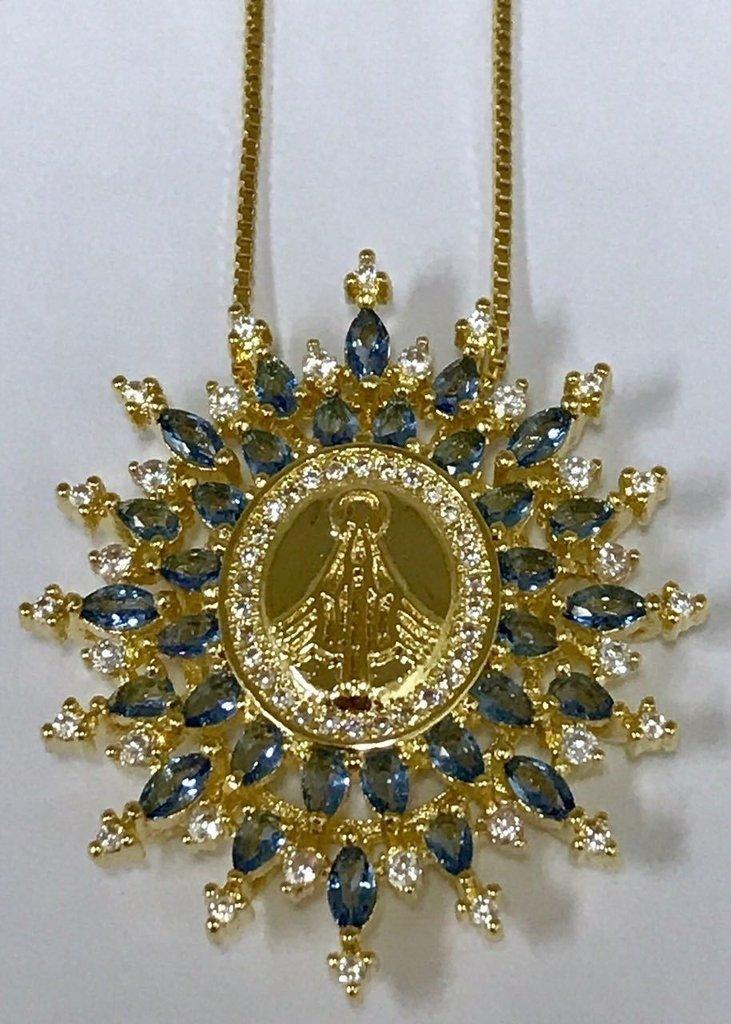 Colar Nossa Senhora das Graças Iluminada - Folheado à Ouro 18k e89b3f170e