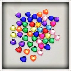 Micro corazones multicolor  facetados -10mm x 10 unidades
