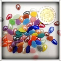 Mini gemas de vidrio -  mix gotas 8-10mm x 10 unidades