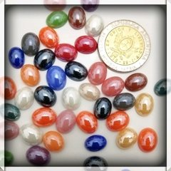 Mini  gemas de vidrio -  mix elipses 8 -12mm x 10 unidades