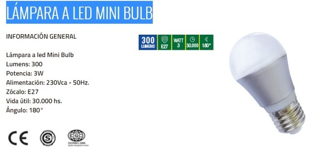 LÁMPARA A LED MINI BULB 3W - comprar online
