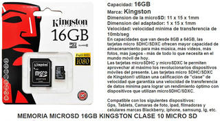 Memoria Micro Sd 16gb Clase 10 Kingston Adaptador Sd en internet