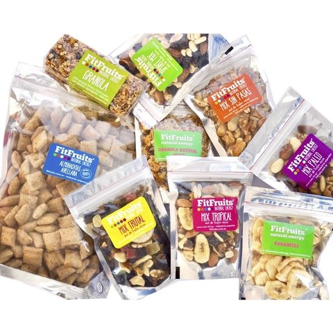 PROMO Combo Snacks Saludables FitFruits ( 9 Snacks + 1 snack extra de Regalo!)