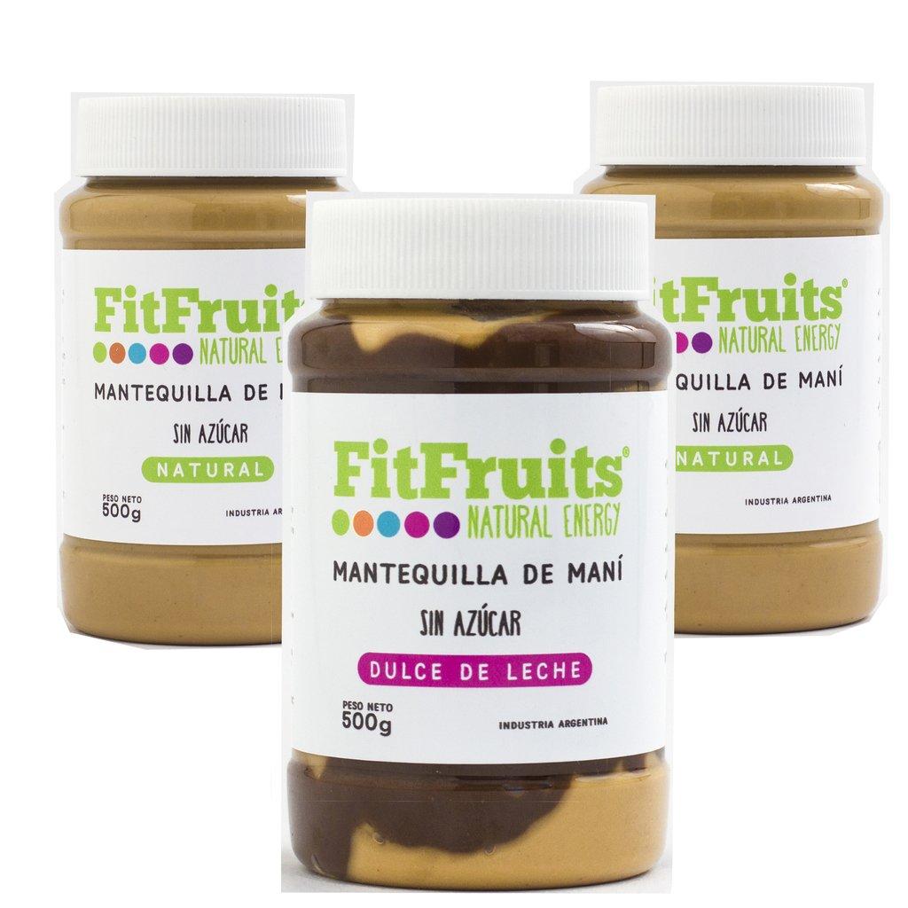 SUPER PROMO: Combo 3 Mantequillas de Mani SURTIDAS FitFruits Sin Azucar  de 500 gr c/u
