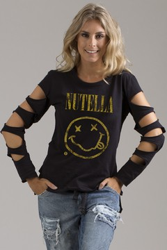 Blusa Manga Destroyed Nutella