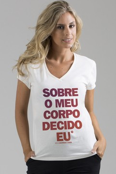 T-shirt Decote V DONNA Meu corpo Off